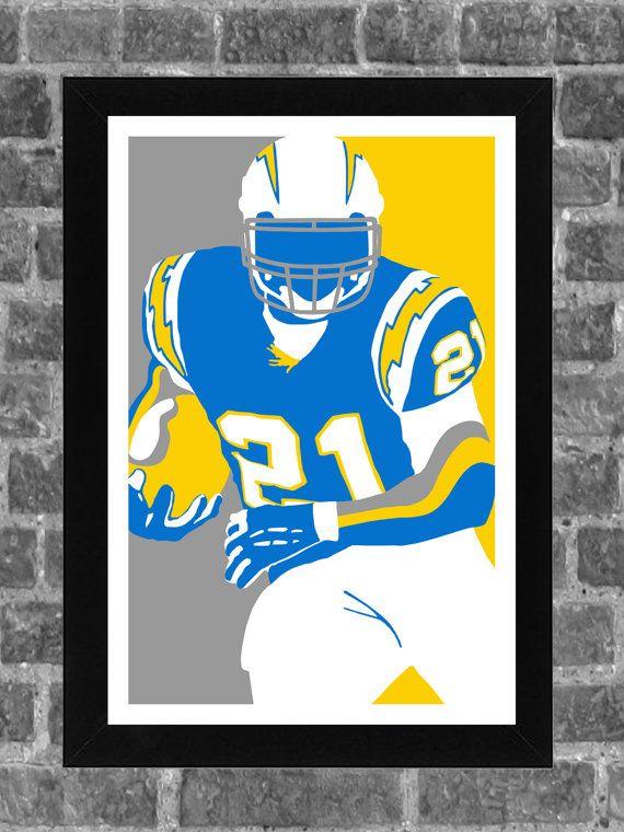 San Diego Chargers Ladainian Tomlinson Portrait Sports Print Art 11x17