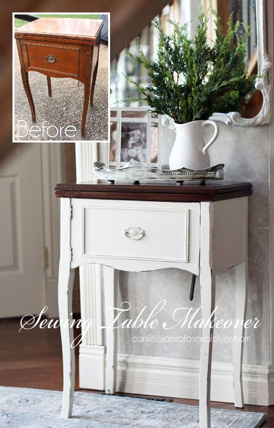 Sewing machine table made over from Confessions of a Serial Do-it-Yourselfer