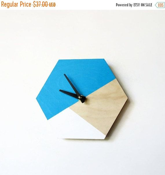 Mod Wall Clock, Trending Decor, Hexagon Decor, Wood Clock, Small Wall Clock…