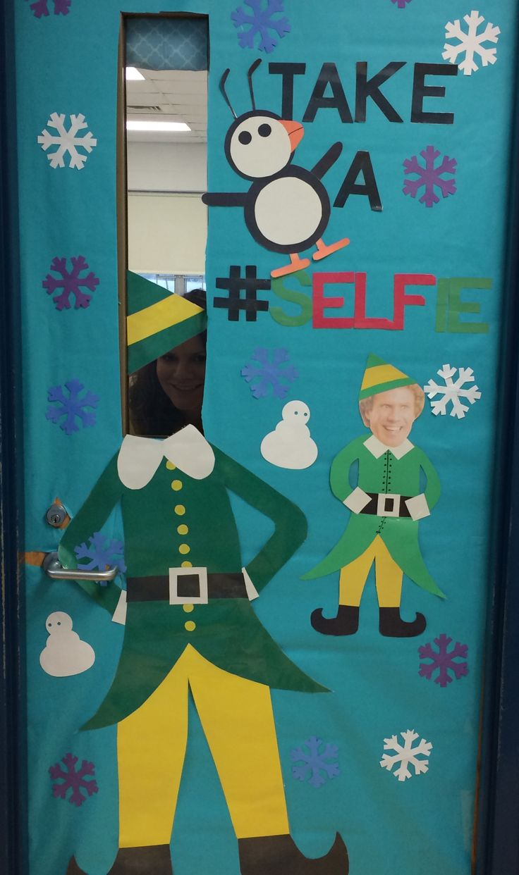 Christmas door ideas, selfie, Buddy the elf, education