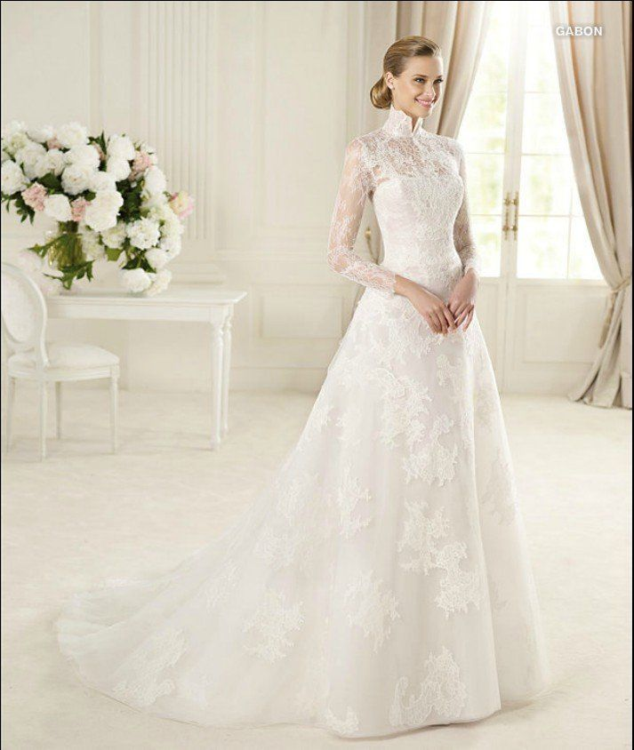 Victorian High Collar Long Sleeve A Line Lique Chapel Train Lace On Zipper Wedding Dresses