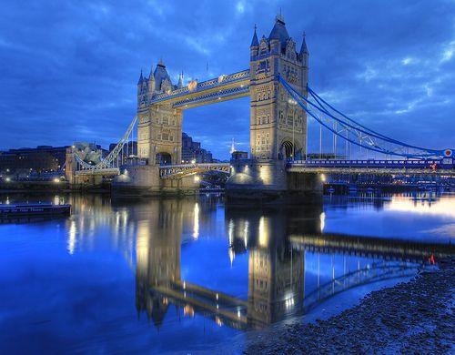 I ♥ London!  London Bridge (Tower Bridge) : Reflection on the River Thames by Anirudh Koul, via Flickr