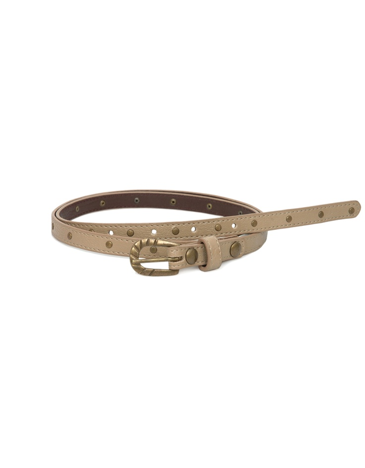 A metal studded slender belt in beige by Baggit.