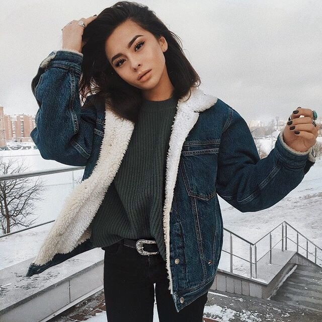 Try a jean and shearling coat this winter. This look is edgy while also still comfortable. Let DailyDressMe help you find the perfect outfit for whatever the weather!