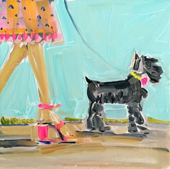 Mini   Whimsical and pretty art, stacked heels -with a Miniature Schnauzer.   Archival quality inks on heavy white premium matte paper, white border on all sides for easy framing. Canvas prints are finished out in back with hangers and 1 3/8 sides are a bright pink.  Keep browsing here: https://www.etsy.com/shop/devinepaintings  Paintings become property of buyer, seller retains right to sell prints unless otherwise discussed.  Questions, just ask : )