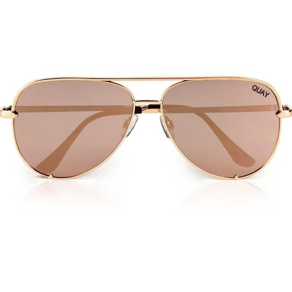 Quay Australia Quay Australia X Desi-High Key Oversized Aviator... ($58) ❤ liked on Polyvore featuring accessories, eyewear, sunglasses, gold, quay sunglasses, gold aviator sunglasses, quay eyewear, gold glasses and gold sunglasses