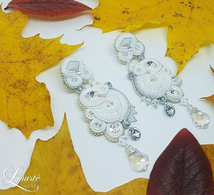 Agne Linarte jewelry & accessories, wedding earrings embellished with crystals from Swarovski and Delica seed beads