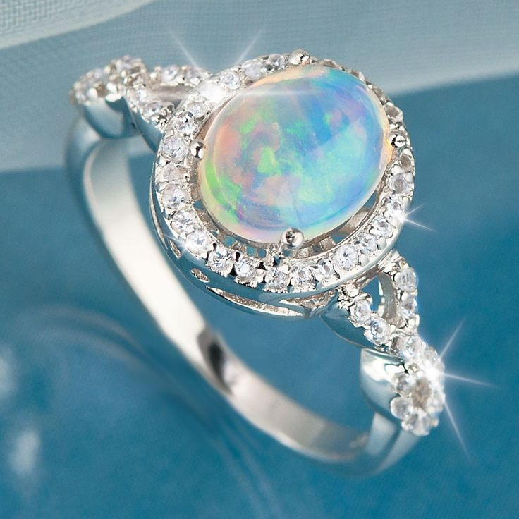 vintage item opal diamond r gold halo ring f engagement natural l full rings