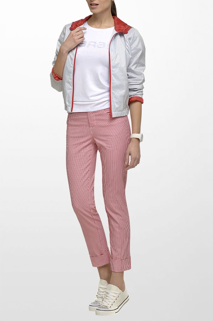 Sarah Lawrence - zip striped outerwear with hood, short sleeve blouse with beading, cuffed pant with stripes.