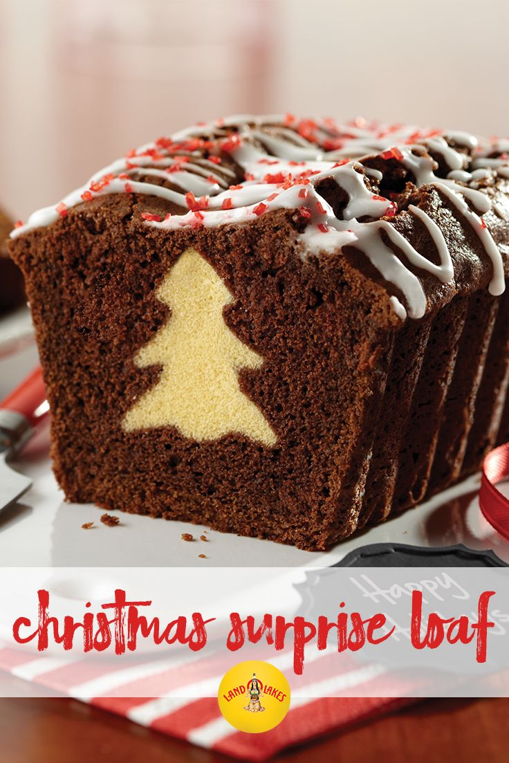 This festive holiday chocolate loaf dessert recipe reveals a hidden surprise upon slicing — a christmas tree!