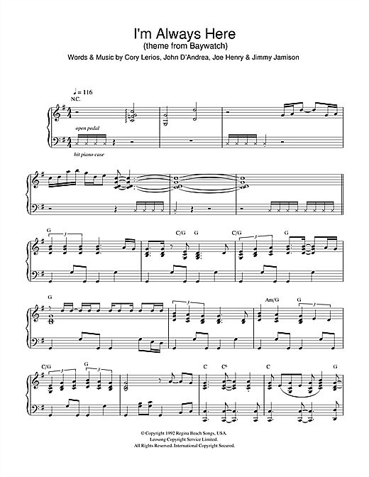 I'm Always Here (theme from Baywatch) sheet music by Jimi Jamison ...