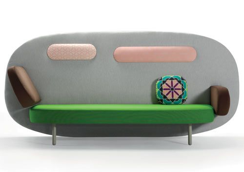 The always busy Karim Rashid has designed a new sofa collection for the Spanish furniture company Sancal. Float features an oval-shaped back to lean on that also doubles as a space divider for privacy.