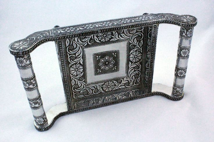 Antique food Serving tray / table decorative - Silver / Black finish (Small) | ##Shopname##