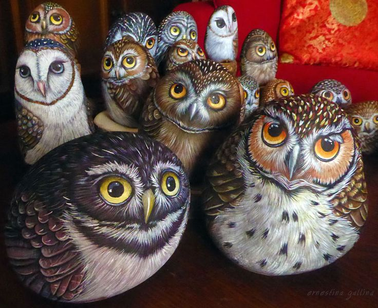 Owls on stone, hand painted by Ernestina Gallina, Pietrevive Rock Art. https://www.facebook.com/pietrevive.ernestina/