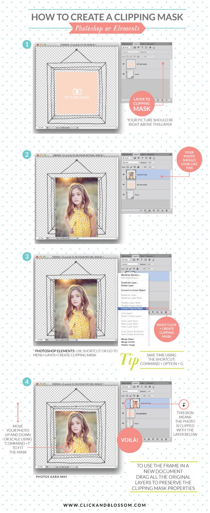 "How to create a clipping mask on photoshop or elements -- BEGINNING PHOTOSHOP OR ELEMENTS - learn ""clipping masks"" here! :)"
