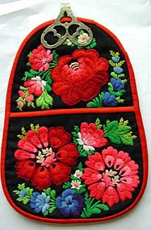 Wool floral embroidery pocket, accessory to a Swedish festival costume, ca. 1880.  Gift of Mrs. Maria Ingberg Wineberg