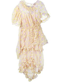 floral embroidered frill dress