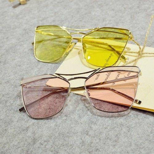 2017韓国韓流おしゃれファッションブロガー眼鏡サングラス透明カラフル紫外線カットサングラス メガネ黄色ピンク ゼリー色男女向け
