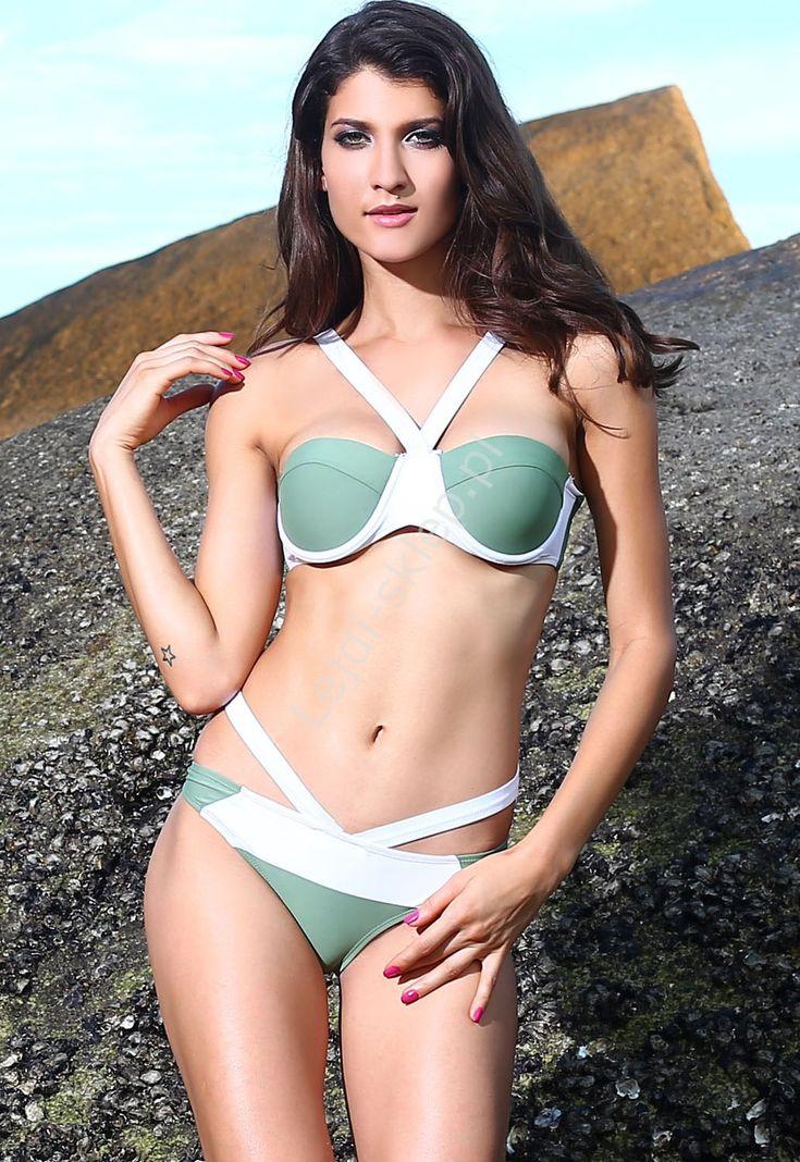 Bikini oliwkowo białe z paskami | strój kapielowy
