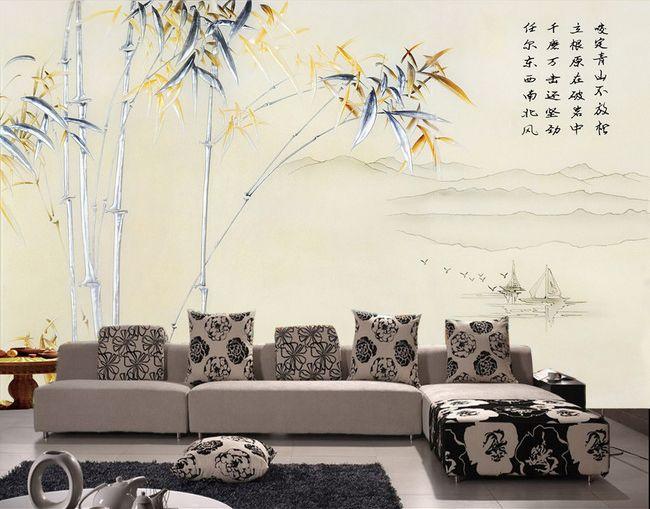 tapisserie numérique sur mesure style asiatique paysage avec les bambous en effet bas relief