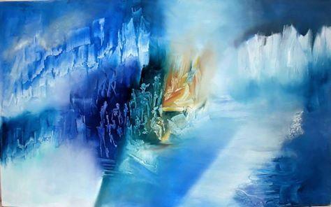 """""""Memoria del agua"""" Óleo sobre tela, 80 x 130 cm."""