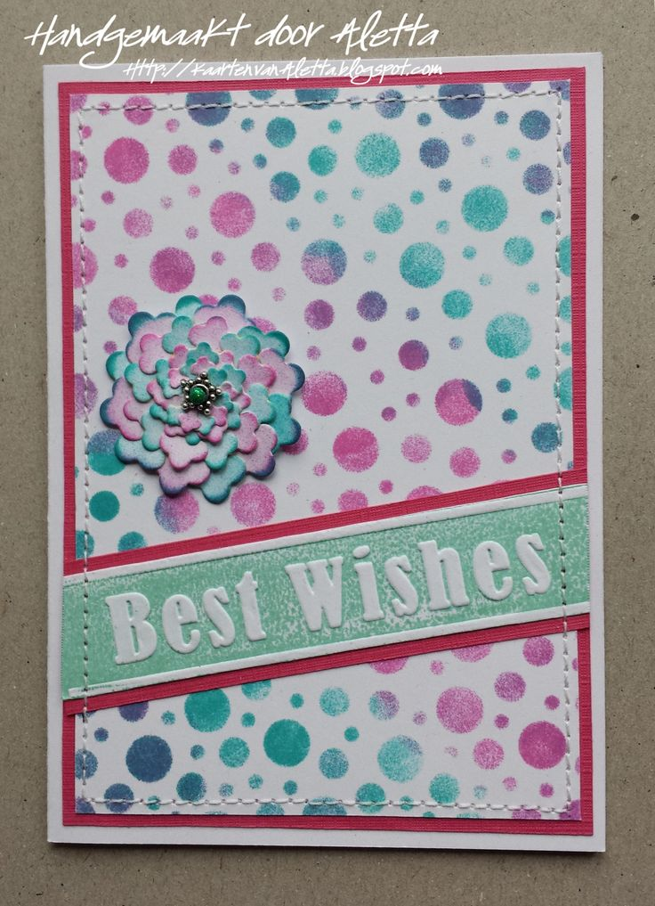 Card made by Aletta Heij. Crafts too Embossing stencil circles, Shape Die SD022, Crafts too Embossingfolder CTFD3017 General Greetings. All products available at https://snellencrafts.nl