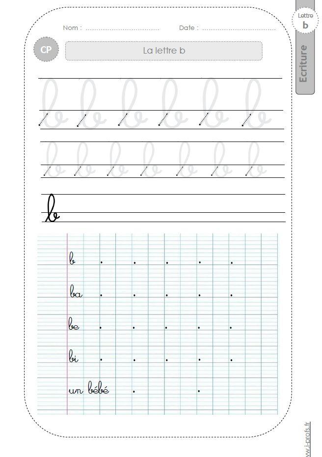 la lettre b au CP:FICHES d'ECRITURE. Modèles d'écriture