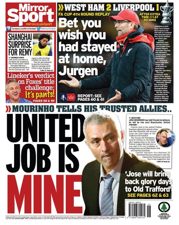 Daily Mirror - 10th February 2016