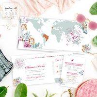 faire-part, voyage, franco-espagnol, france, espagne, carte du monde, billet d'avion, carte d'embarquement, fleurs, fleuri, boussole, logo mariés, faire-part sur mesure, création de faire-part