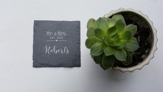 Personalized Slate Coasters - Set of 4 - Custom Coaster - Personalized Coaster - Engraved - Personalized Wedding Gift - Housewarming Gift