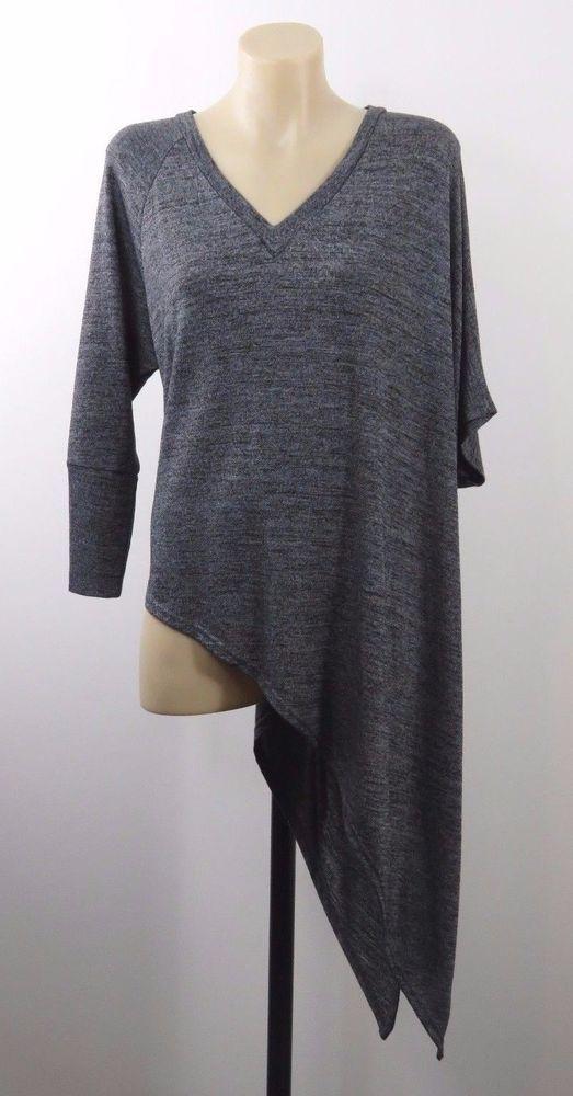 NWT Size S 10 Ladies Grey Knit Top Tunic Asymmetrical Boho Chic Layer Hip Style #CarolineMorgan #Tunic #Casual
