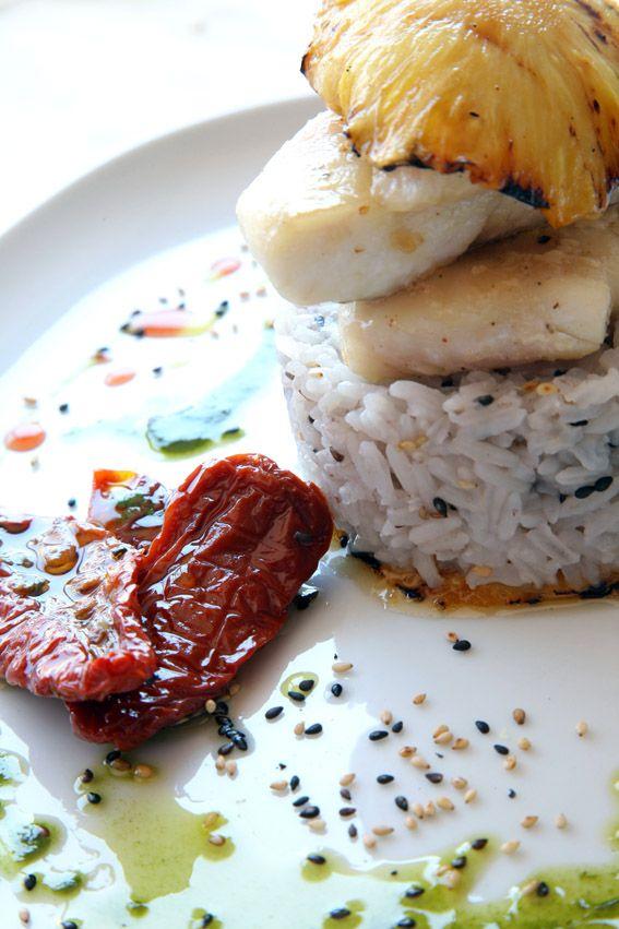 o peixe galo chapeado e seu arroz de sesamo.