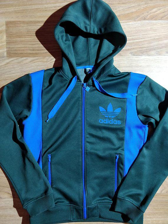 f5530f41544b Adidas Originals 90 s Vintage Mens Hoodie Tracksuit Top Jacket Hooded Green  Blue