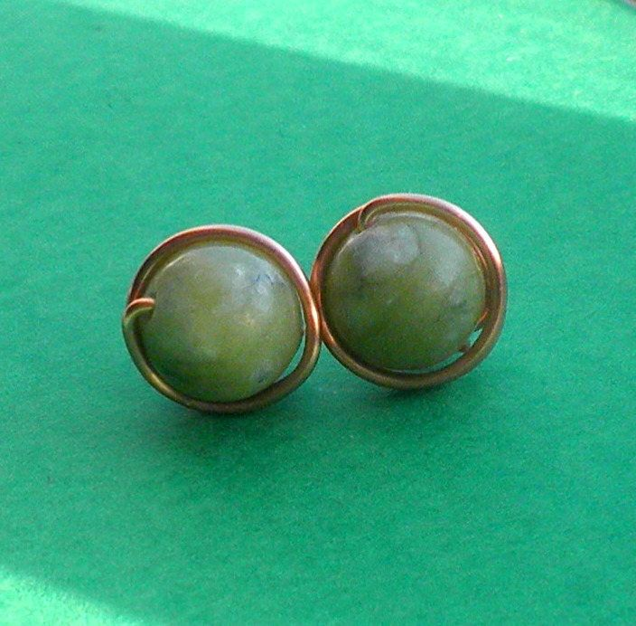 Connemara Marble Stud Earrings, Wirewrapped Post Earrings, Non Tarnish Copper Wire with 8 mm Jade Green Gemstones by VintageIrishDresser on Etsy