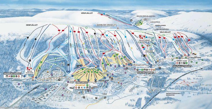 #Sälen #Lindvallen Piste Map ➽ See high resolution at http://www.skiferietips.dk/sverige/salen/pistekort