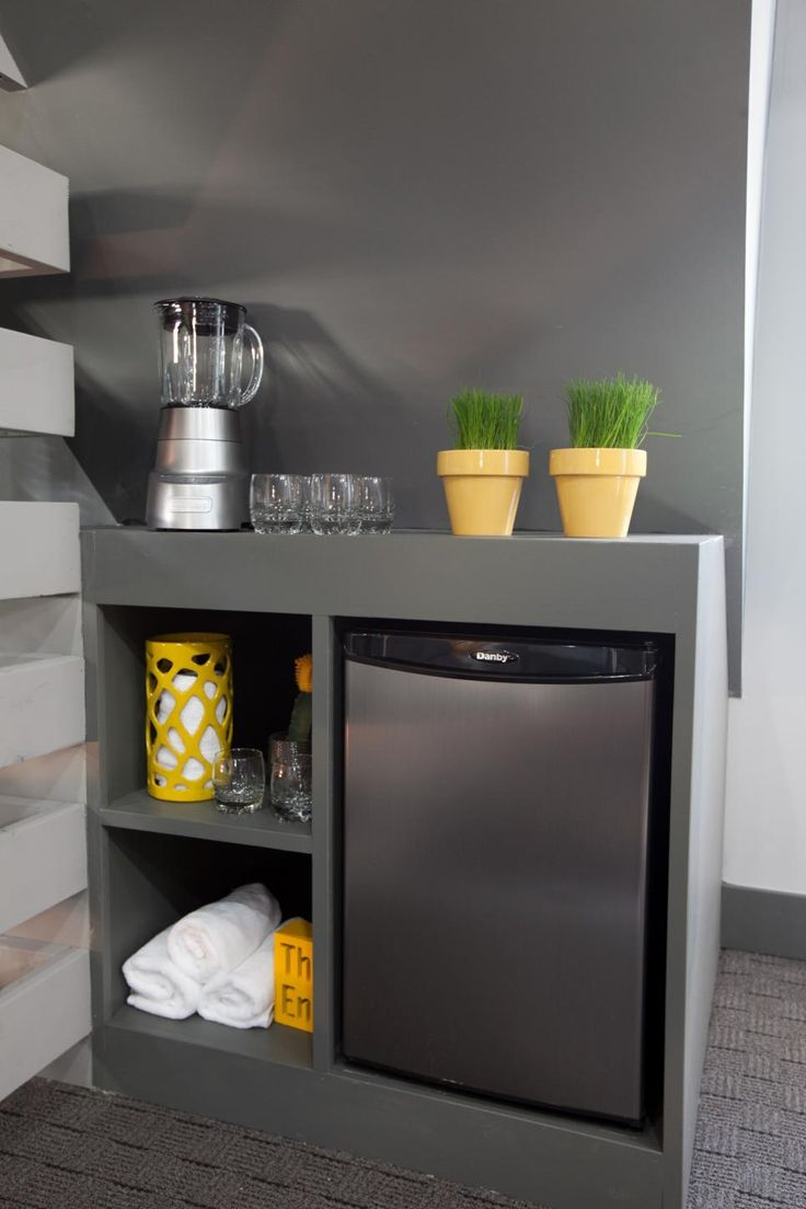 As seen on HGTV's hit show Elbow Room, Chip and his team of designers created an attic home gym for the Perez family who felt they missed out on time with each other while they all were exercising. This room will bring the whole family together with something for everyone. To keep the family cool, Chip and his team installed a giant fan. They also installed this beverage cart to keep the gym rats hydrated as they exercise.