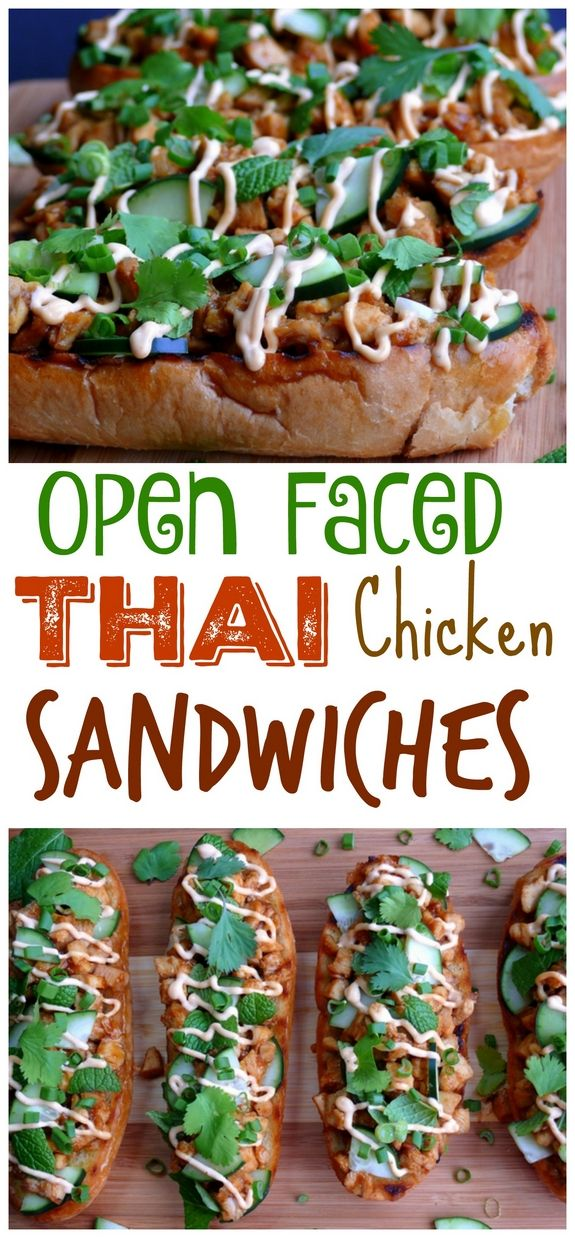 Open Faced Thai Chicken Sandwiches from NoblePig.com.