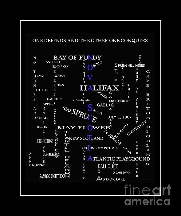 Nova Scotia Canada Crosswords Blue by Barbara Griffin - Nova Scotia Canada Crosswords Blue Digital Art - Nova Scotia Canada Crosswords Blue Fine Art Prints and Posters for Sale