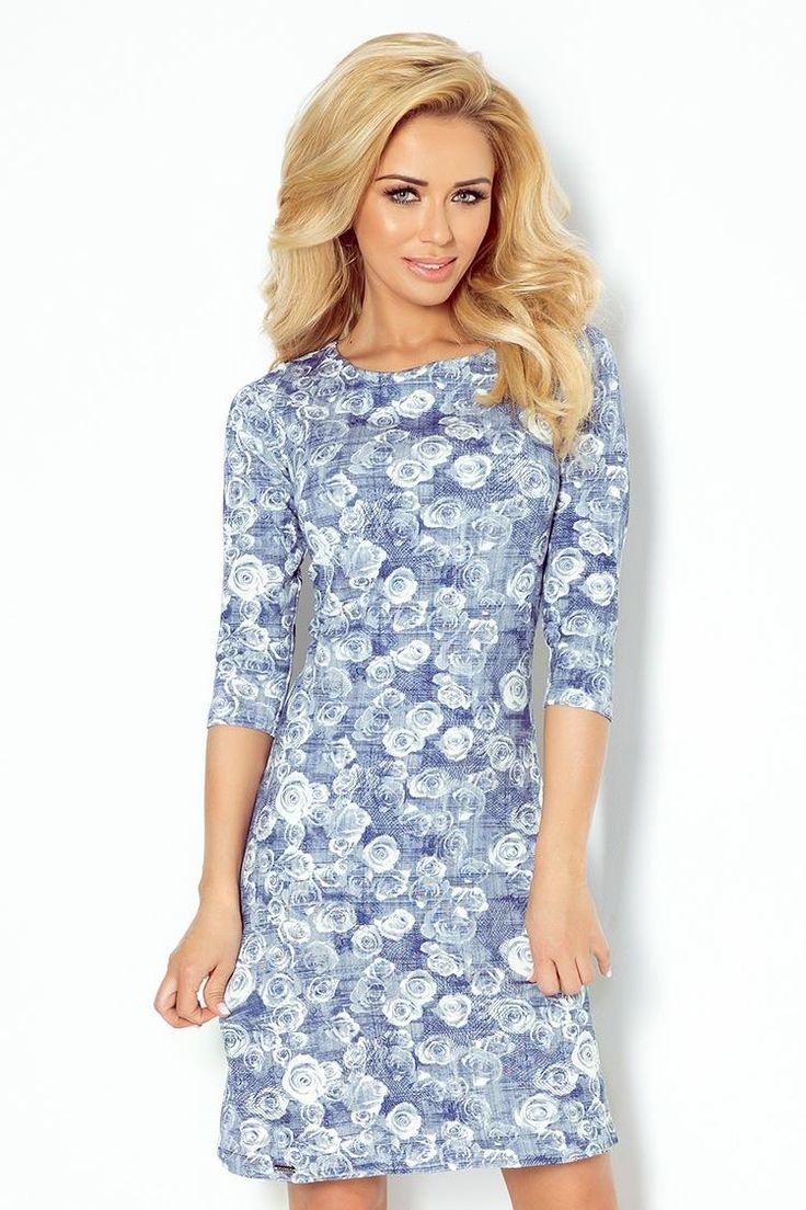 Sukienka Lekko Rozkloszowana  Niebieska w Róże NU88-7