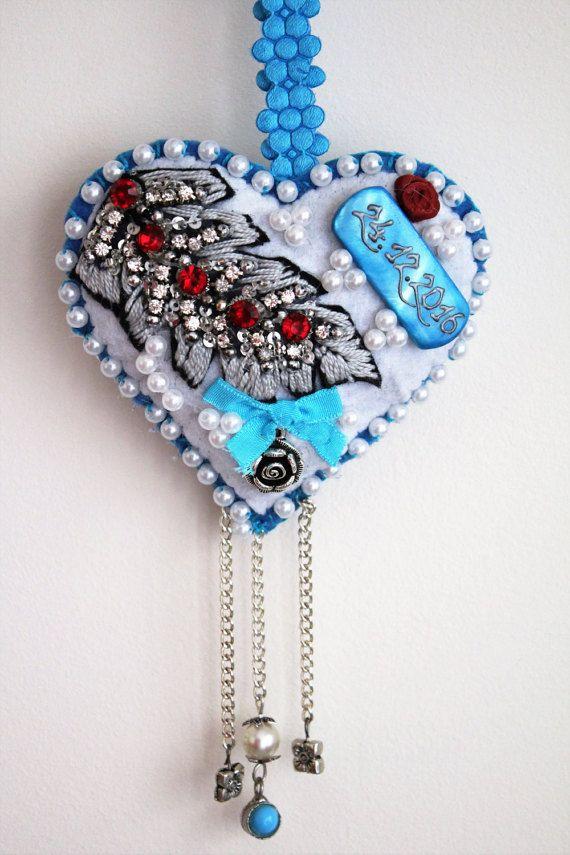 Custom heart wedding money holder, Felt beaded heart ornament, Fabric heart wall…