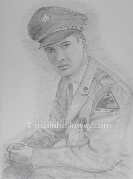 """""""Elvis in the Army (II)"""" by Nuala Holloway - Pencil on Paper (Commission)  As featured in the music biography """"Elvis and Ireland"""" by Ivor Casey -  Available to buy now on Amazon #Elvis #ElvisandIreland #IrishArtist"""