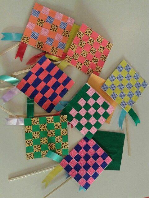 Warna Warni Ketupat Kertas Kidsclub Craft Creation Eid Crafts