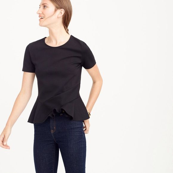 J CREW structured flutter hem t shirt (navy) I am selling the navy one (see last 2 pics of actual top) top features an asymmetrical peplum hem. Stretchy, structured knit fabric. Washed and worn twice and in great condition. 70% cotton 25% nylon 5% elastane J. Crew Tops
