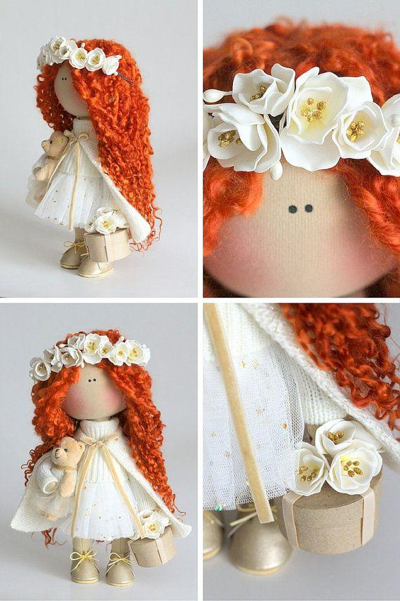 Ricci bambola tessuto bambola Tilda bambola colore bianco