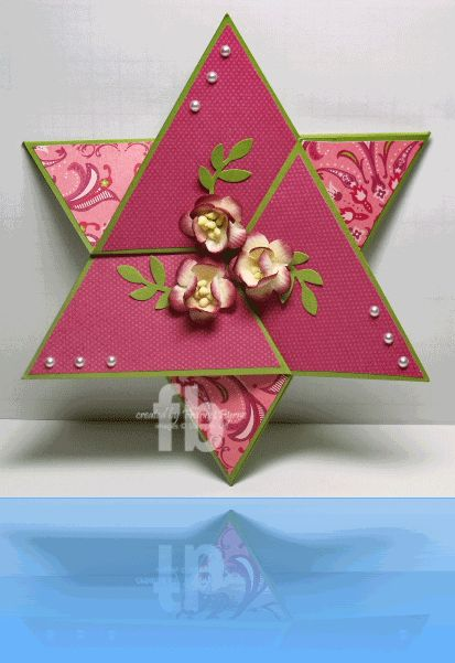 lovely floral star card...just a few folds and layers...