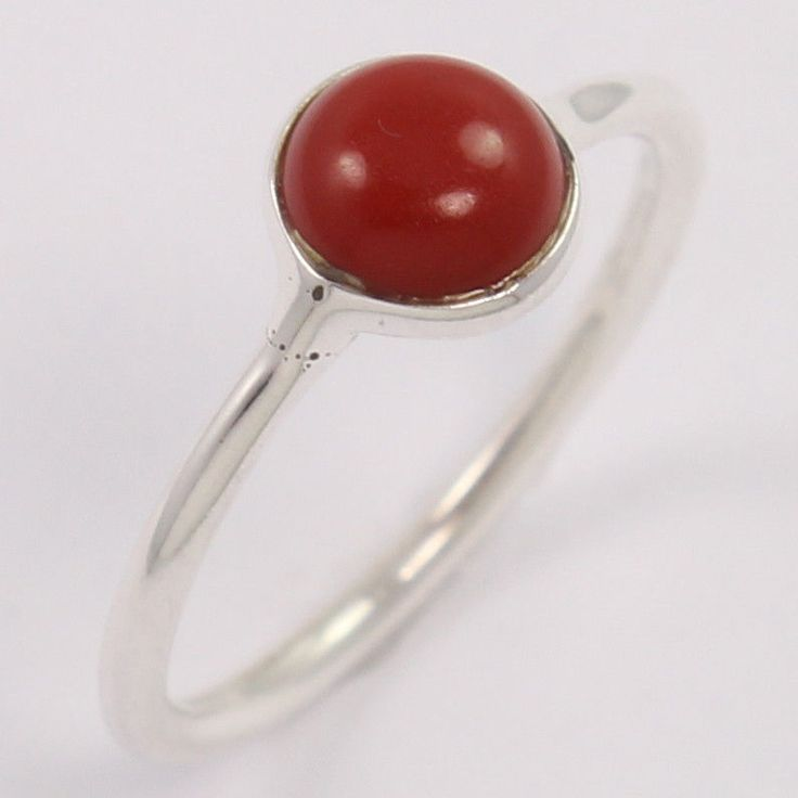 CORAL (S) Gems Wholesale Price 925 Sterling Silver Small Ring Size US 4.5 Trader #Unbranded