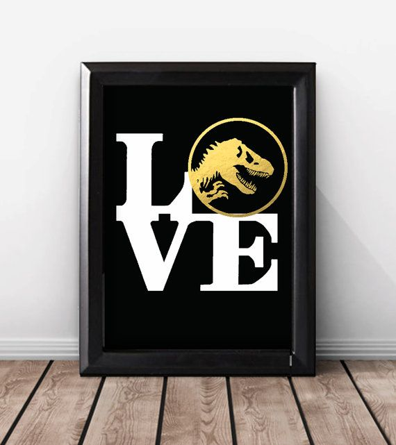 Shiny Gold Foil Dinosaur Print, Dinosaur Wedding Gift For Couples, Dinosaur Room Decor, Jurassic Park Art, Print, Dinosaur Art Poster