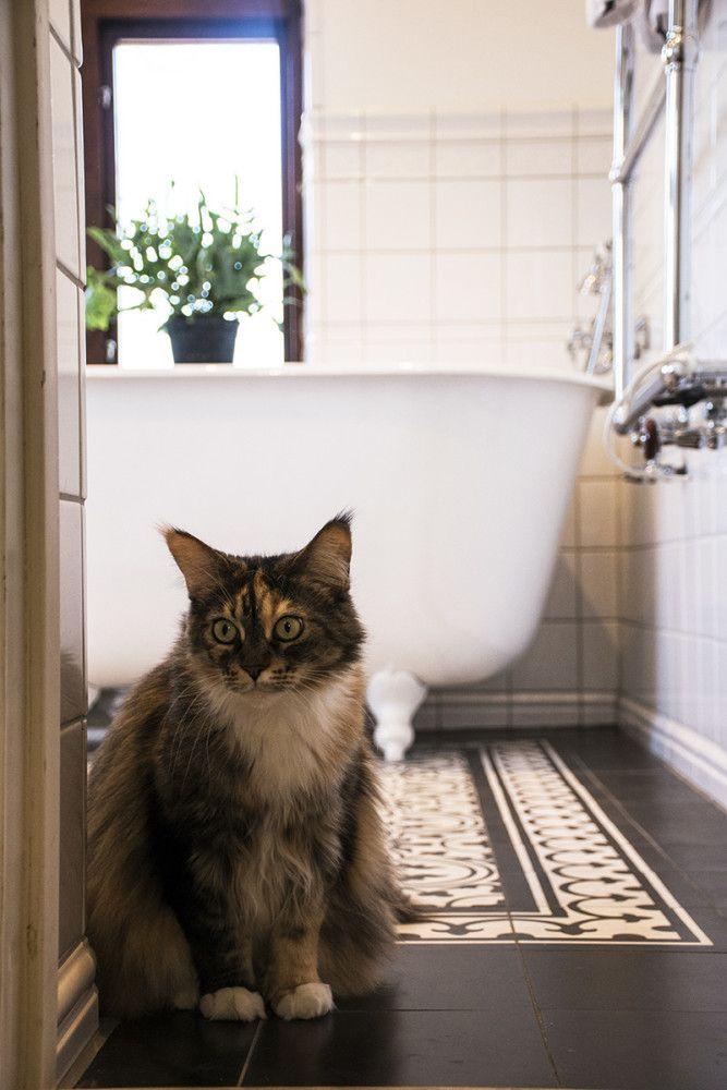 Titta in i det stämningsfulla och smakfullt inredda badrummet i gammal stil i huset byggt 1912.