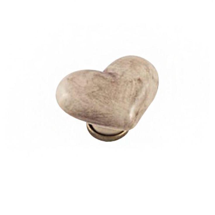 Pomolo per mobile a cuore - Ceramica Patinato 39 x 49x H 30 mm - Porcellana #pomello #cuore #romantico #arredocasa #mobili #bagno #cameretta