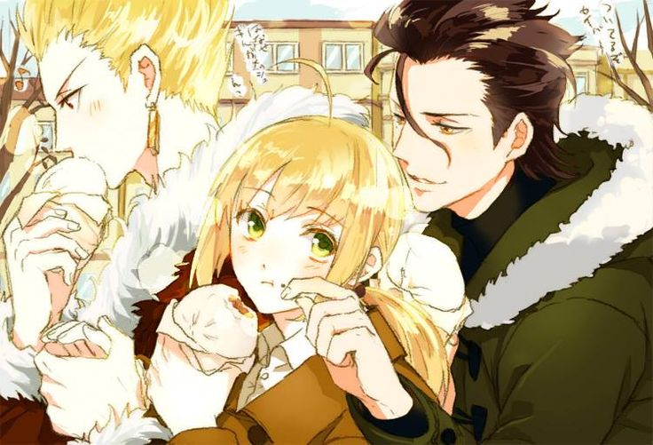 Anime Boy And Girl Couple Wallpaper Lancer Saber Gilgamesh Modern Au Fate Series Fate